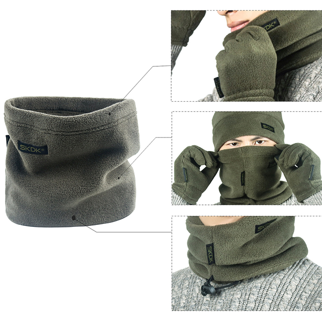 3pcs Thickened Fleece Hat Scarf Beanie Cap Gloves Set Men Autumn Winter Warm Camping Portable Outdoor Elements Dropshipping 5