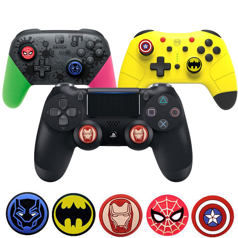 Marvel Hero Batman Thumb Stick Grip Cap Thumbstick Joystick Cover Case For Sony PS3 PS4 Slim Xbox One 360 Switch Pro Controller