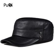 Pudi man genuine leather cap hat male winter army military baseball caps hats black color HL817 цена