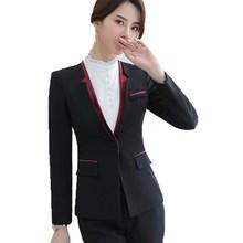 Womens Formal Suit Black V-neck Jacket and Trouser 2 Piece Set Pantsuit Women Business Casual Pants Ladies Office Work