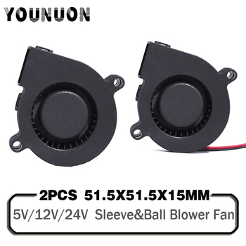 2PCS 5015 50mm DC 24V 12V 5V 2Pin Ball/Sleeve Bearing Brushless Cooling Turbine Blower Fan 50mm x 15mm Blower Cooler Fan 2pcs 5015 50mm dc 24v 12v 5v 2pin ball sleeve bearing brushless cooling turbine blower fan 50mm x 15mm blower cooler fan