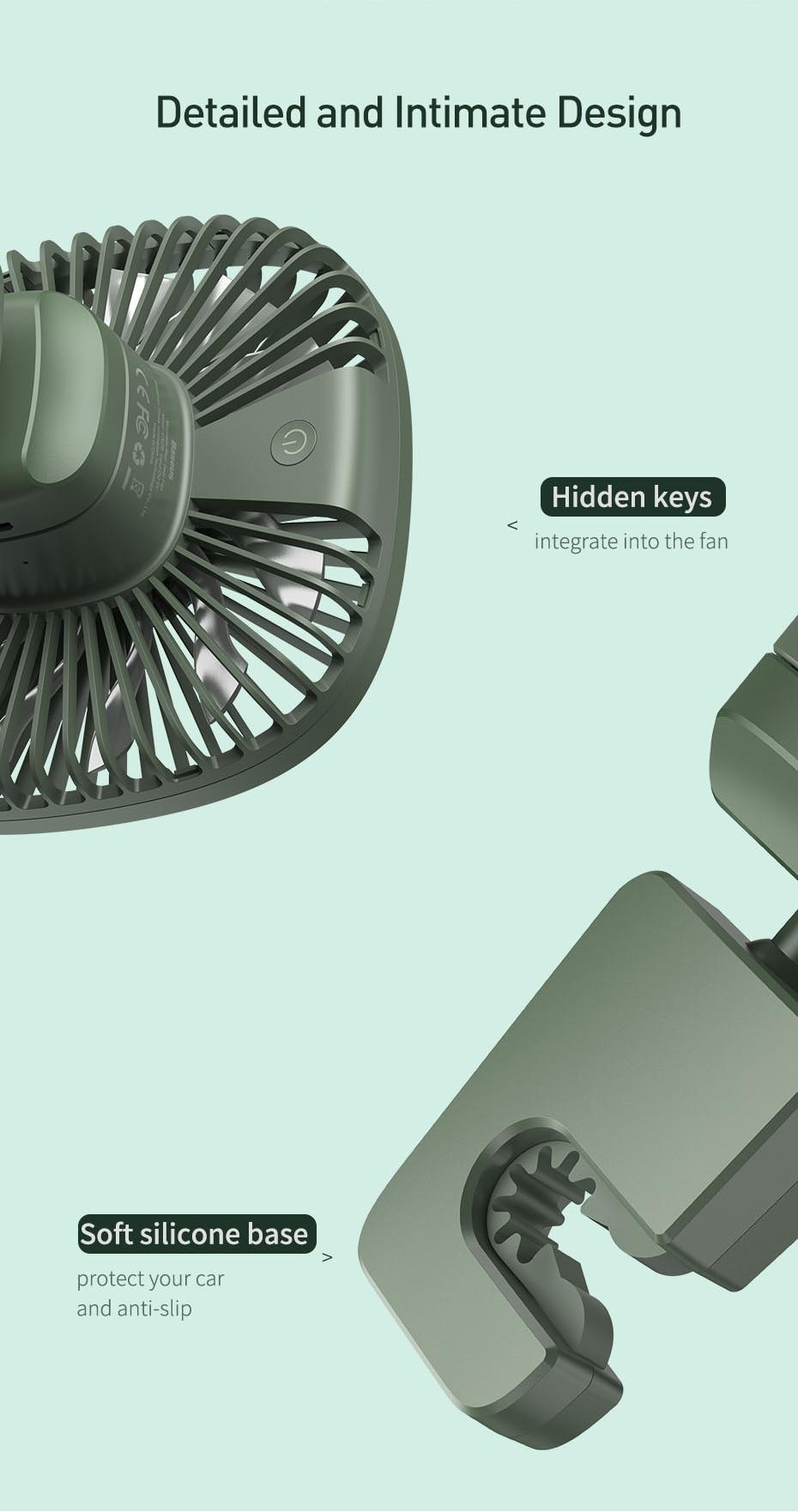 Baseus Natural Wind Magnetic Rear Seat Fan Rechargeable Fan 17
