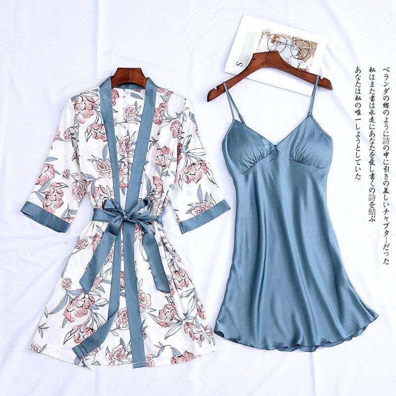 Women Satin Sexy Sets Ladies Nightgown Print Two-pieces Silk Sleepwear Robe+Nightdress Lounge Sets Pijama
