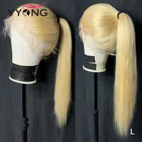 Yyong 613, pelucas de cabello humano de encaje completo Rubio para mujeres negras, línea de pelo pre-arrancada con pelo de bebé, cabello brasileño liso Remy 120%