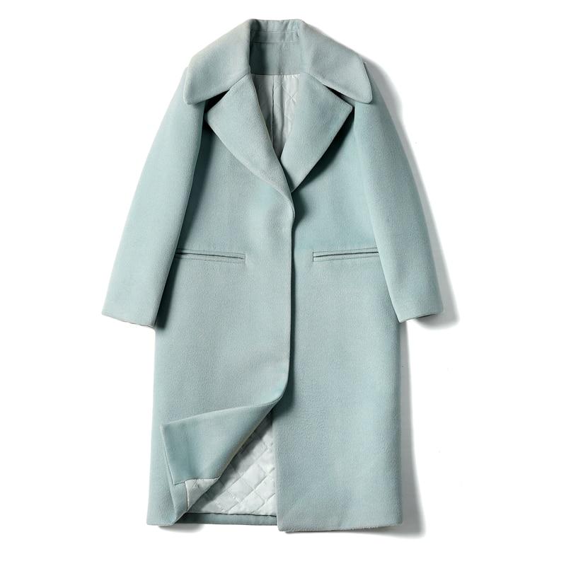 2019 New Ladies' jacket Fashion Single Breasted Slim Women Autumn Winter Wool Coat Long Wool Coat Spring Autumn Women Wool Coat 3