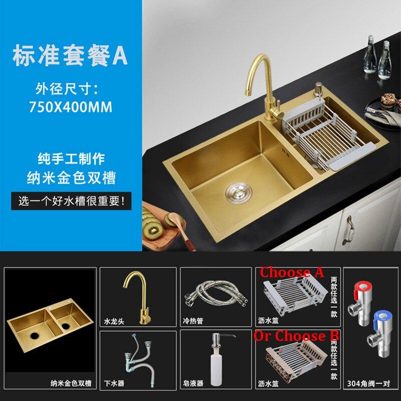 75x40 cm/78X43 cm/80X45 cm/accueil évier de cuisine en acier inoxydable éviers de cuisine en acier inoxydable Undermount