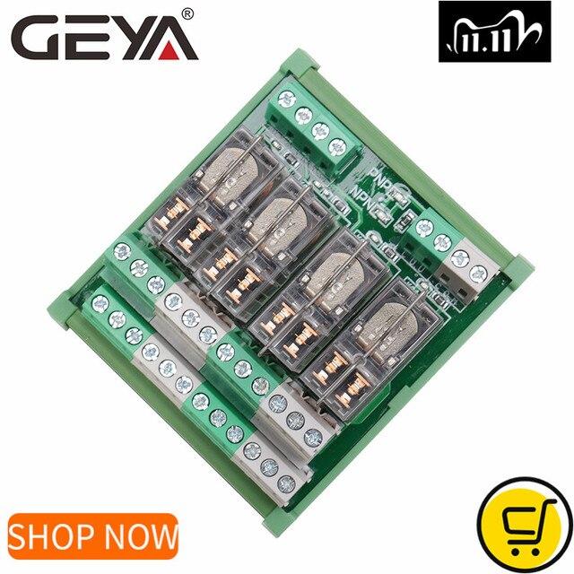 GEYA 2NG2R 4 قناة أومرون وحدة التتابع 2NO 2NC الإلكترونية DPDT التبديل 12 فولت 24 فولت مجلس التتابع