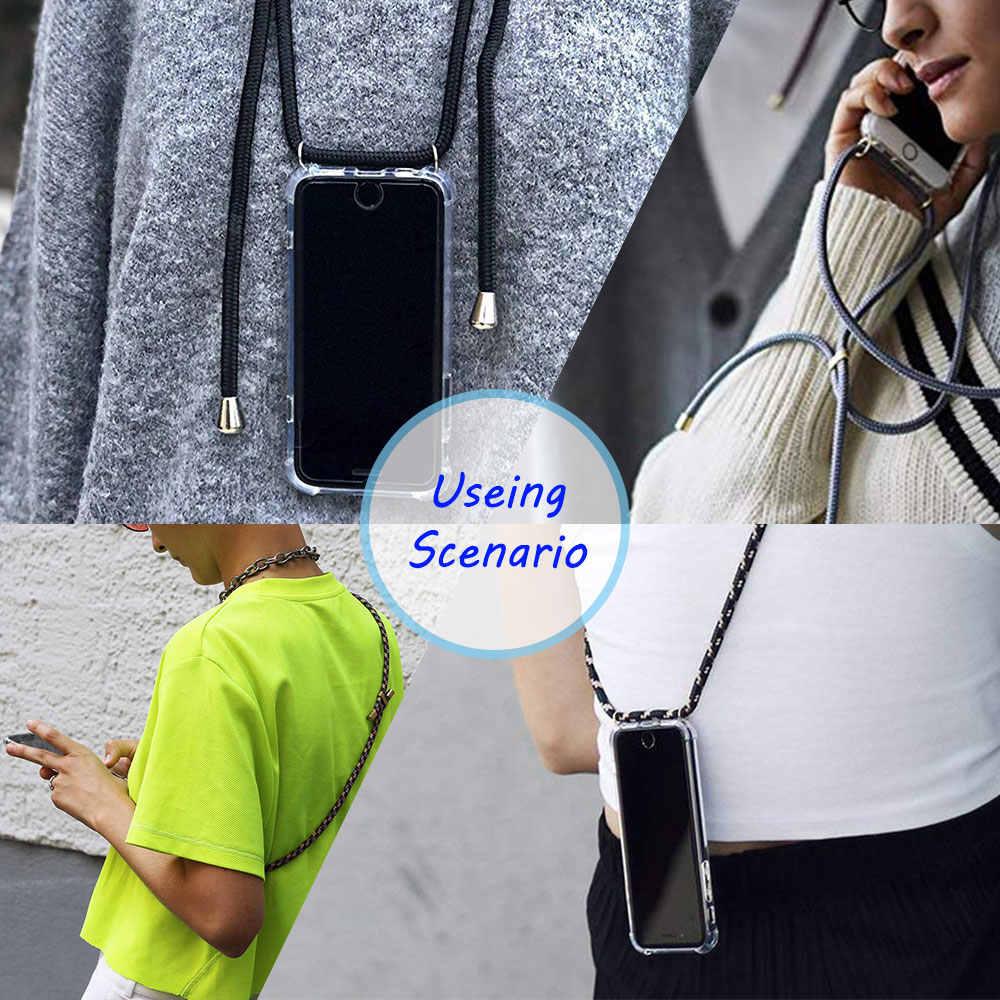 רצועת כבל שרשרת טלפון מקרה לסמסונג גלקסי A5 A6 A7 A8 A9 2018 שרשרת שרוך Coque עבור A51 A71 10 20 30 40 50 70 Funda