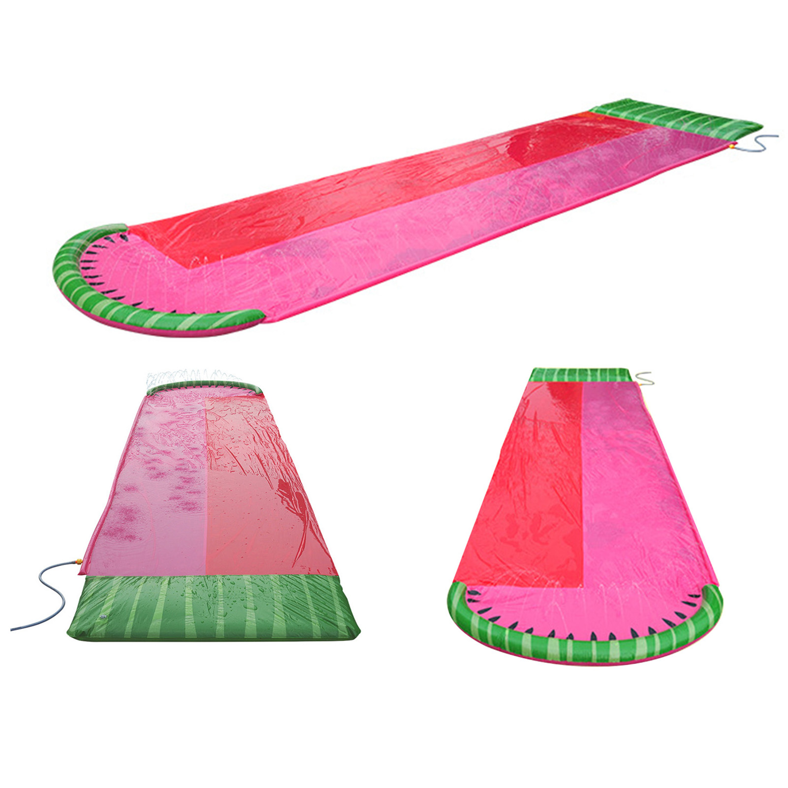 5.5M Double Single Water Slide Mat Summer Waterskiing Splash Play Toys Outdoor Surfboard Water Games With Crash Pad For Kids