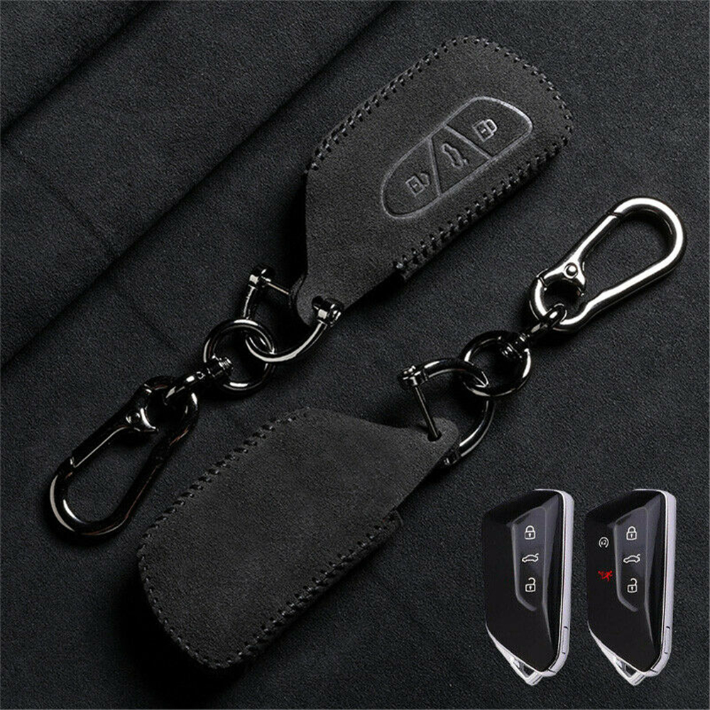Suede Leather Remote Start Car Key Case Fob Cover Protector Holder Shell Auto Accessories Keychain For VW Golf GTI MK8 2020 2021