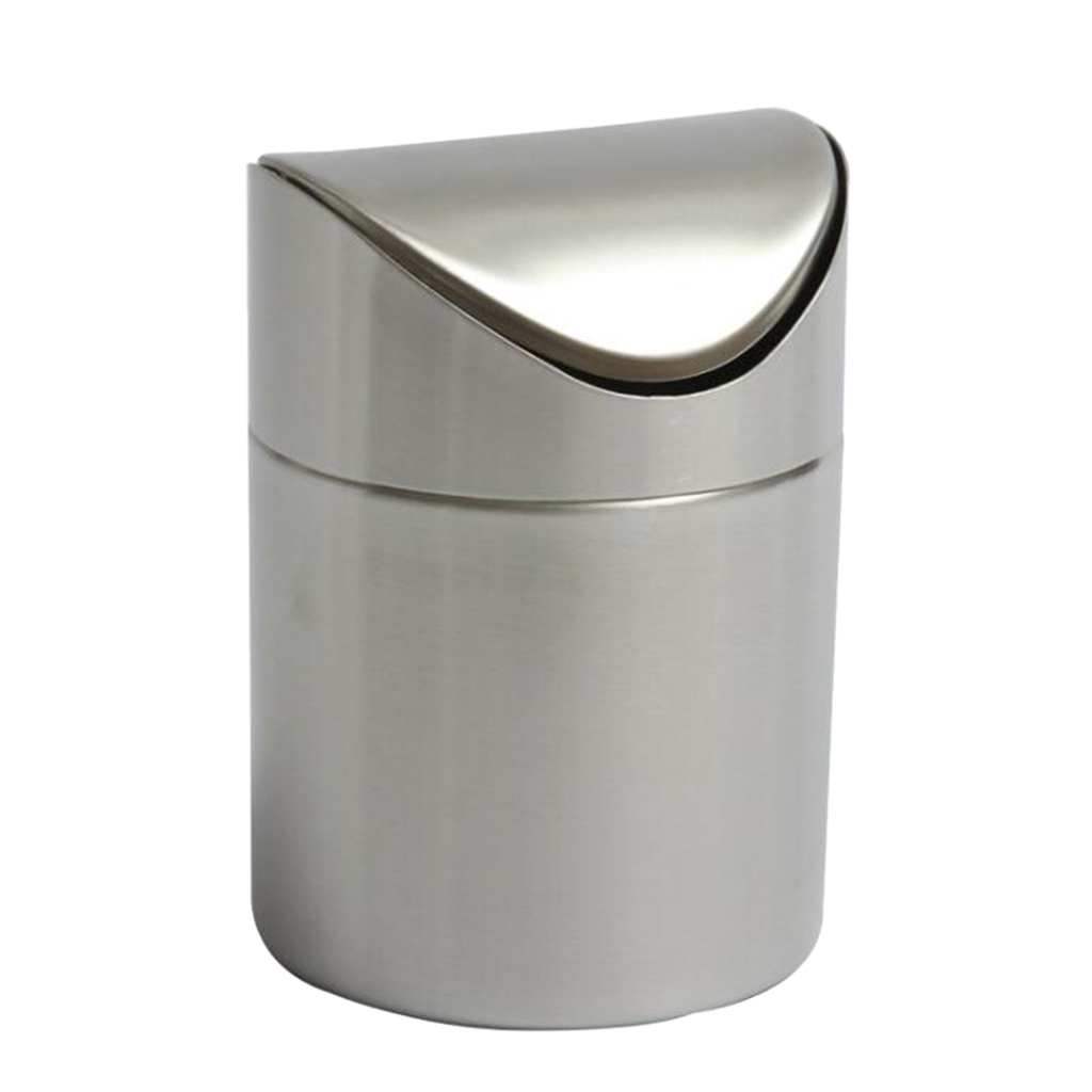 Silver/Green/Pink/Blue/Red Stainless Steel Trash Can Tabletop Cigar Ashtray  Car Garbage Bin Living Room/Office/Kitchen/Bar