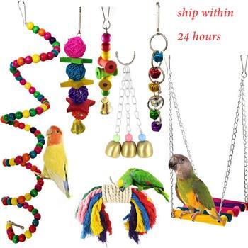 7 Uds columpio para aves bloques cuerda de algodón masticar pájaro de Madera Juguetes Para loros colgar puente cuerda con campanas columpio colorido loro Juguetes