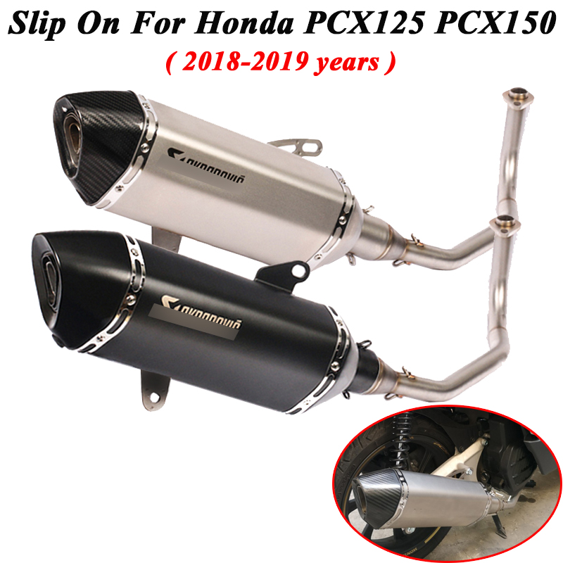 Full System For <font><b>Honda</b></font> <font><b>PCX</b></font> <font><b>125</b></font> <font><b>PCX</b></font> 150 2017 - <font><b>2019</b></font> Motorcycle Exhaust Escape Modified Front Link Pipe Muffler DB Killer Slip-on image