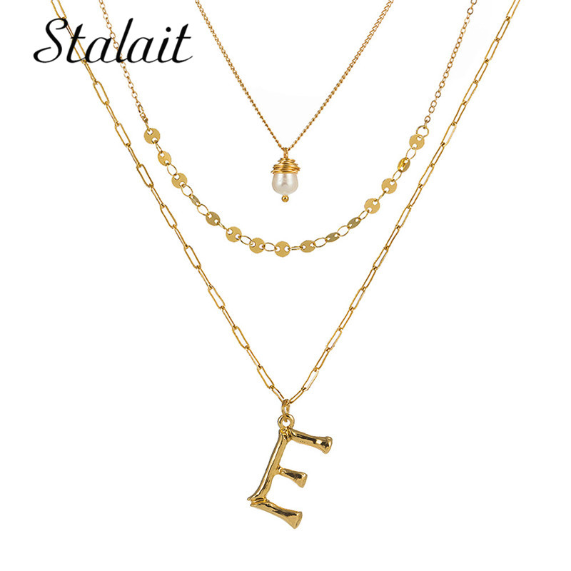 Bohemian 26 Letters Initial Necklace Gold Color Alphabet Sequins Pearl Layered Pendant Women Friends Jewelry