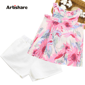 Teen Girls Clothing Floral Vest + Short Clothes For Girls Casual Style Girl Clothing Summer Childrens Clothing 6 8 10 12 14