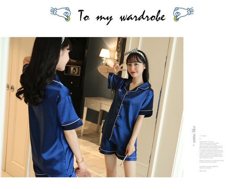 H1c0e5dfb3cb8407888033061928567cb2 - JULY'S SONG New Spring Summer Women Faux Silk Pajamas Set Simple Pure Color Leisure Nightwear Short Sleeves Sleepwear