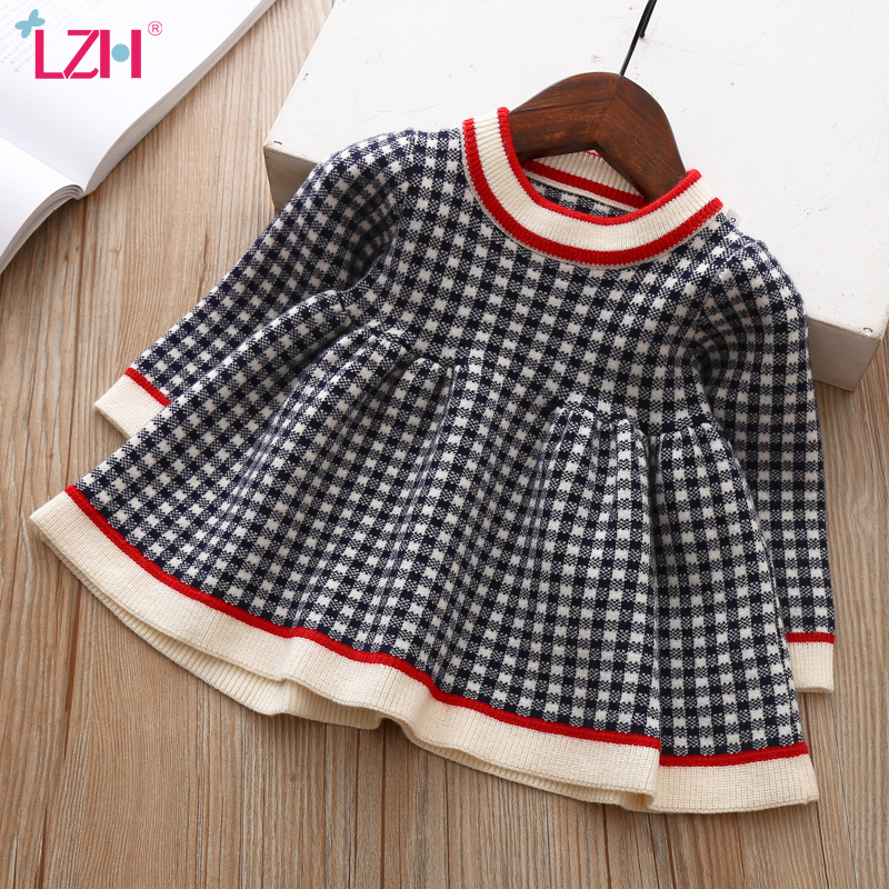 2020 Autumn Winter Baby Long Sleeve Plaid Sweater Dress For Baby Girls 1 Year Birthday Dress Infant Baby Wedding and Party Dress