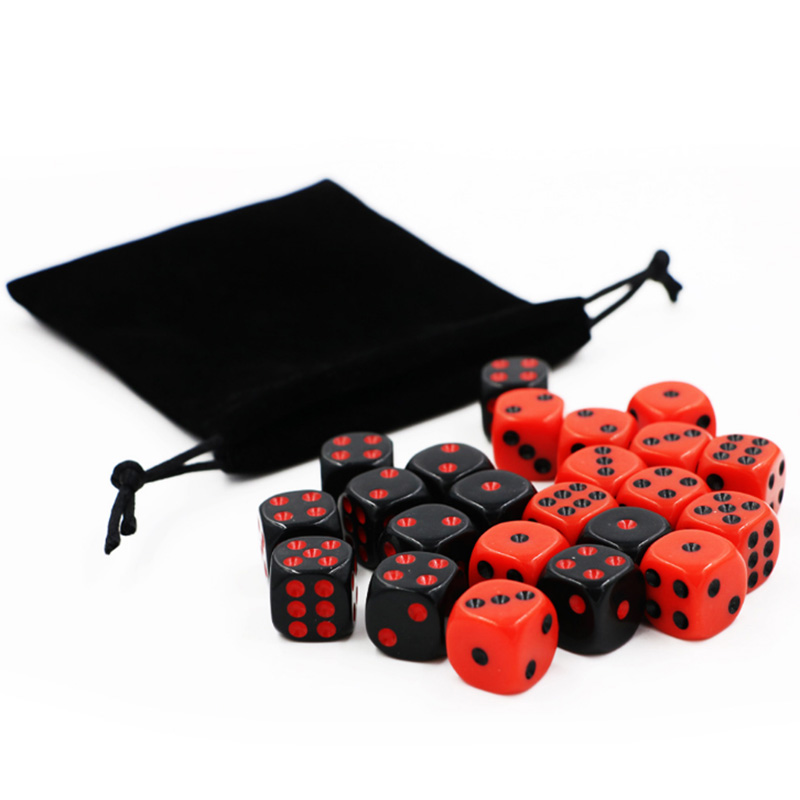 24 PCS/Set Red/Black Dice SET With Velvet Bag Funny Game Accessory