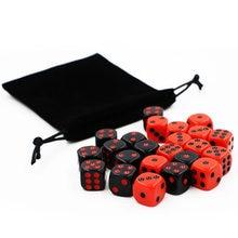 24 pçs/pçs/set vermelho/preto conjunto de dados com saco de veludo engraçado jogo acessório