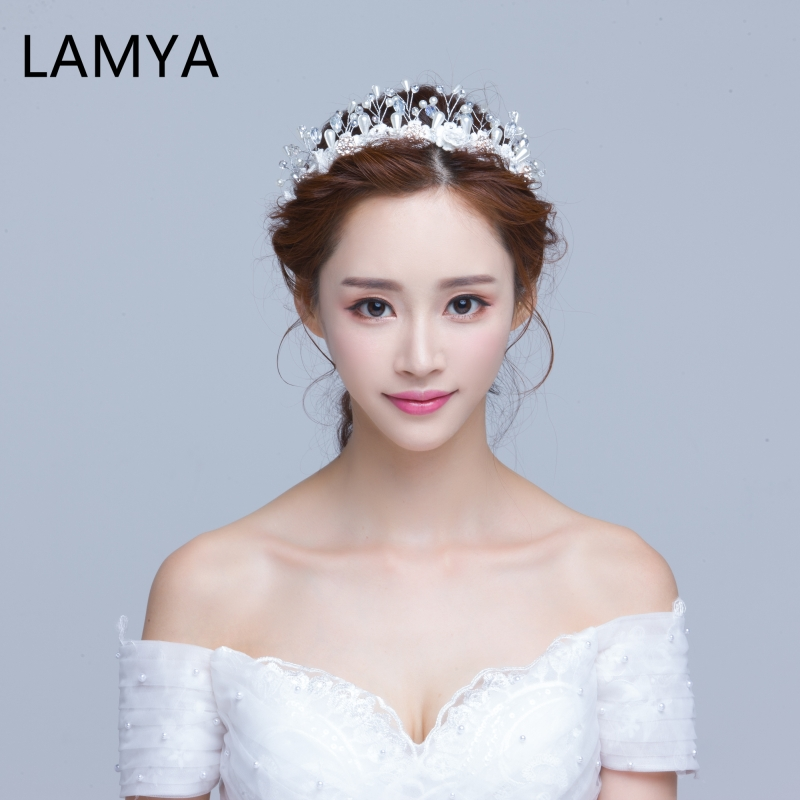 LAMYA 2020 New Handmade Bridal Headwear Bridal Crown White Wedding Dress Bridal Crown Ornament Mori Wedding Hair Accessories