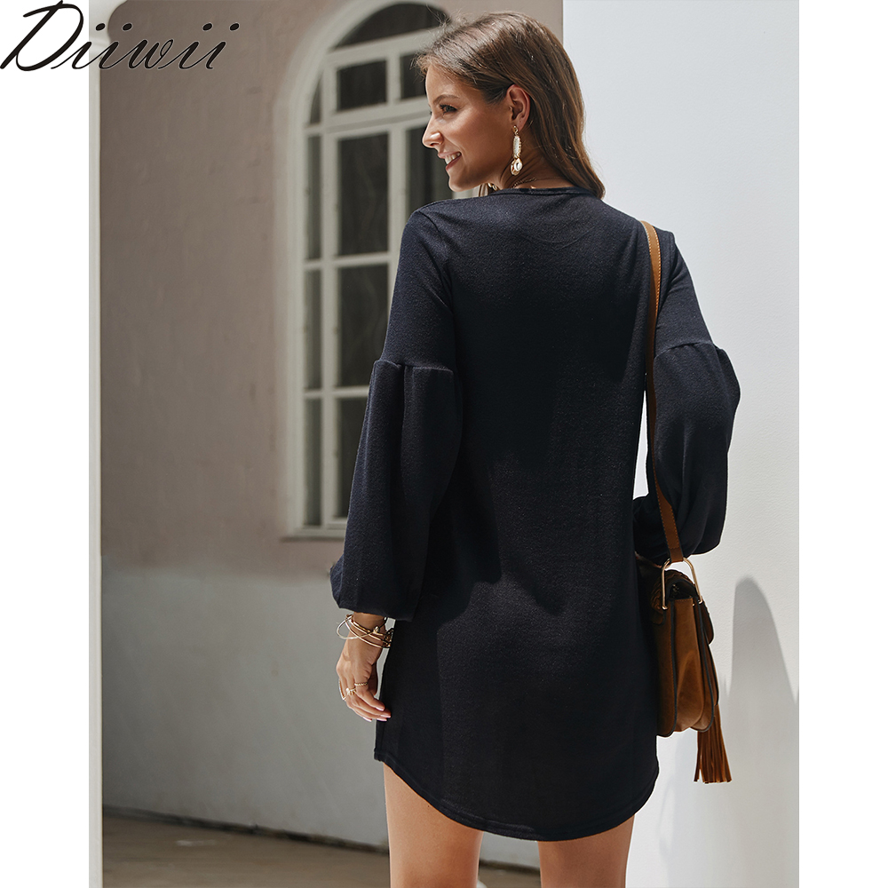 Diiwii New Autumn Winter Knit Sweater Dress Solid Color Base Blouse Women's Dress