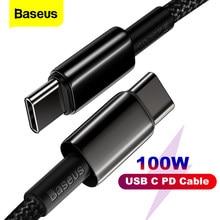 Baseus PD USB C a tipo C, Cable 100W QC4.0 3,0 USB-C rápida Cable de carga para Macbook Samsung S9 Xiaomi Poco X3 Huawei Cable de datos