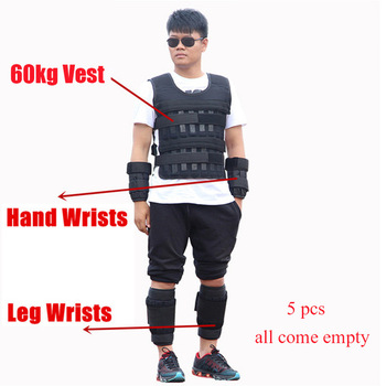 5-60KG Loading Weight Vest for Boxing Weight Training Workout Fitness Gym Equipment Adjustable Waistcoat Jacket Sand Clothing 7