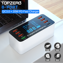 8マルチポートusb充電器qc 3.0急速充電ステーション40ワットusbタイプcクイック充電器液晶デジタルディスプレイのusb充電器