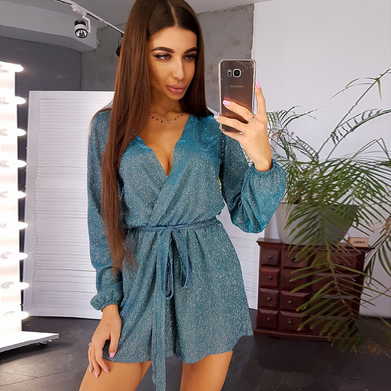 Women Casual Sashes Shiny Shorts Jumpsuit Ladies Long Sleeve Deep V Neck Sexy Club Party Jumpsuit 2019 Fashion Winter Jumpsuit