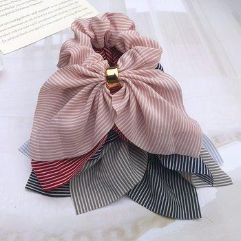 Korea Cute Rabbit Ear Striped Metal Buckle Hair Scrunchies Elastic Hair Bands Ties Rope Bands Ponytail Bands Hair Accessories 4