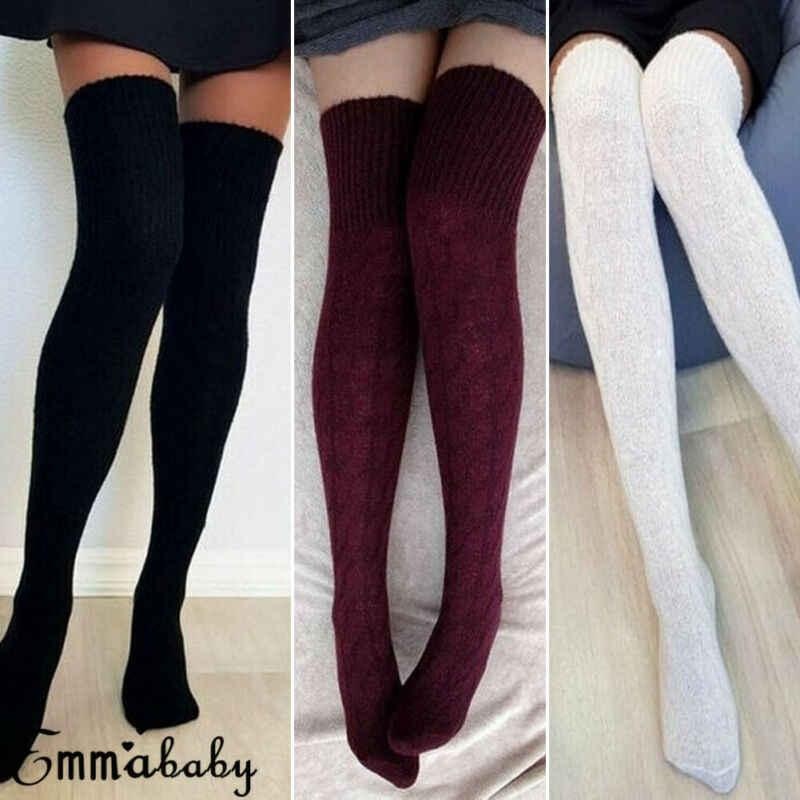 ผู้หญิงฤดูหนาวถักโครเชต์ยาวพิเศษ Boot ถุงเท้า Over เข่าต้นขาสูงโรงเรียนสาวถุงน่องขาอุ่นสีดำ Burgundy