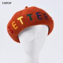 USPOP 2019 New fashion winter hats women letter berets female thick wool beret hat