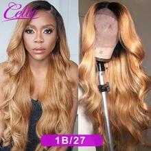 Celie 1B/27 vücut dalga dantel ön peruk gölgeli insan saçı peruk 13x6 renkli dantel ön peruk s İnsan saç 200 yoğunluklu vücut dalga peruk