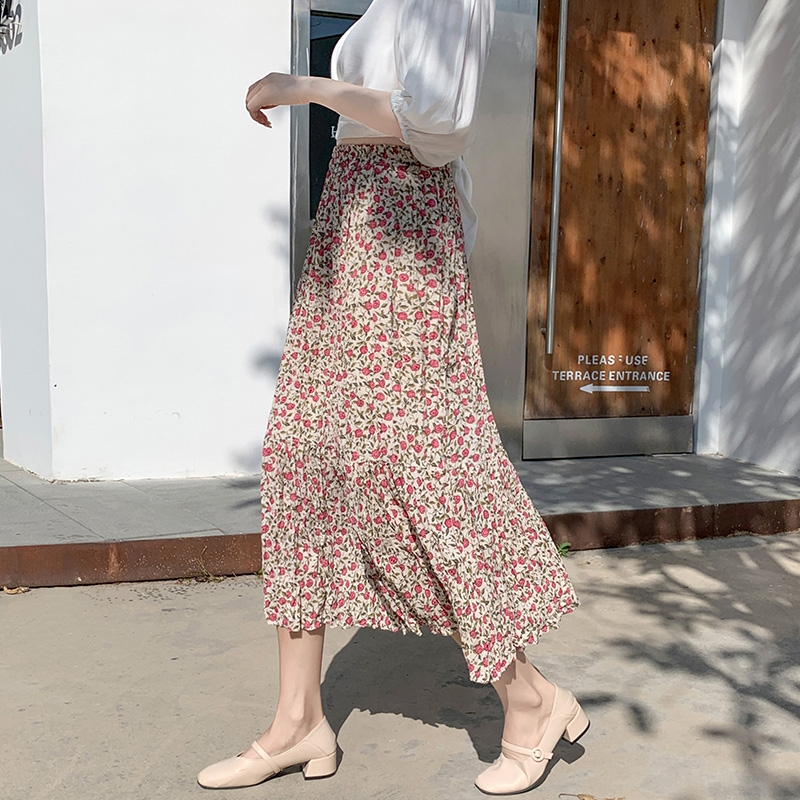 Maxi Skirt Womens Skirts Clothing High Waist Red Harajuku Sale Items Vintage Streetwear Floral Boutique Chiffon Flowy Sale Items
