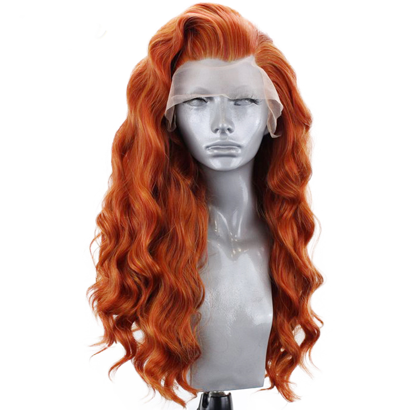 Charisma Auburn Orange High Temperature Hair 26 Inches Long Deep Wave Wigs Synthetic Lace Front Wig For Women Side Part(China)