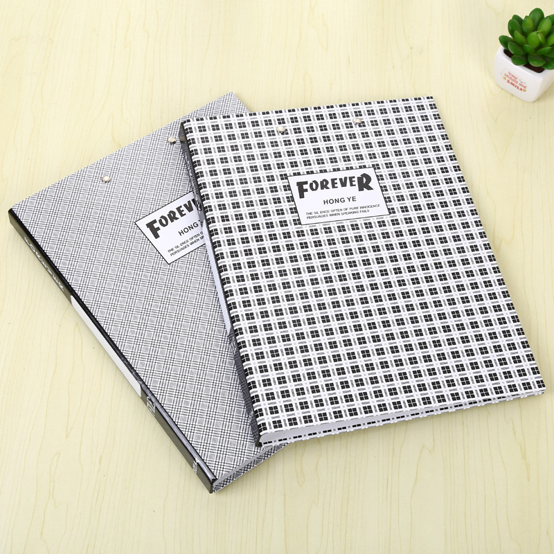 A4 Office Folder Clip Inner Office Organizers Hard Cover Document Organizer File Folder Fashinable Grid Design Paper Storage