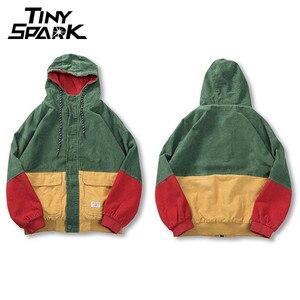 Image 2 - ヒップホップパーカージャケット男性冬のコーデュロイジャケット原宿赤パッチワーク秋のフード付きボンバージャケットコートレゲエジャマイカ