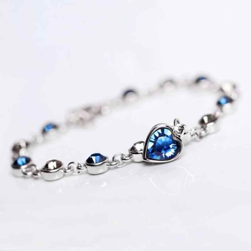 Kristal parlayan zarif bayan zincir bilezik takı romantik kalp kolye güzel Charm bilezik aksesuarları yeni 2020