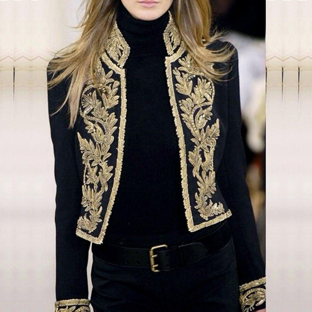 Women Retro Blazer Long Sleeve Open Front Luxury Short Cardigan Suit Jacket England Style Embroidery Work Office Coat Top jeans con blazer mujer