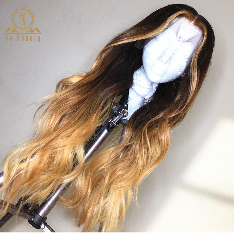 Honey Blonde Lace Front Wigs Body Wave Ombre Colored Human Hair Wigs For Women Black 13x6 Lace Frontal Wig Remy 150% Nabeauty