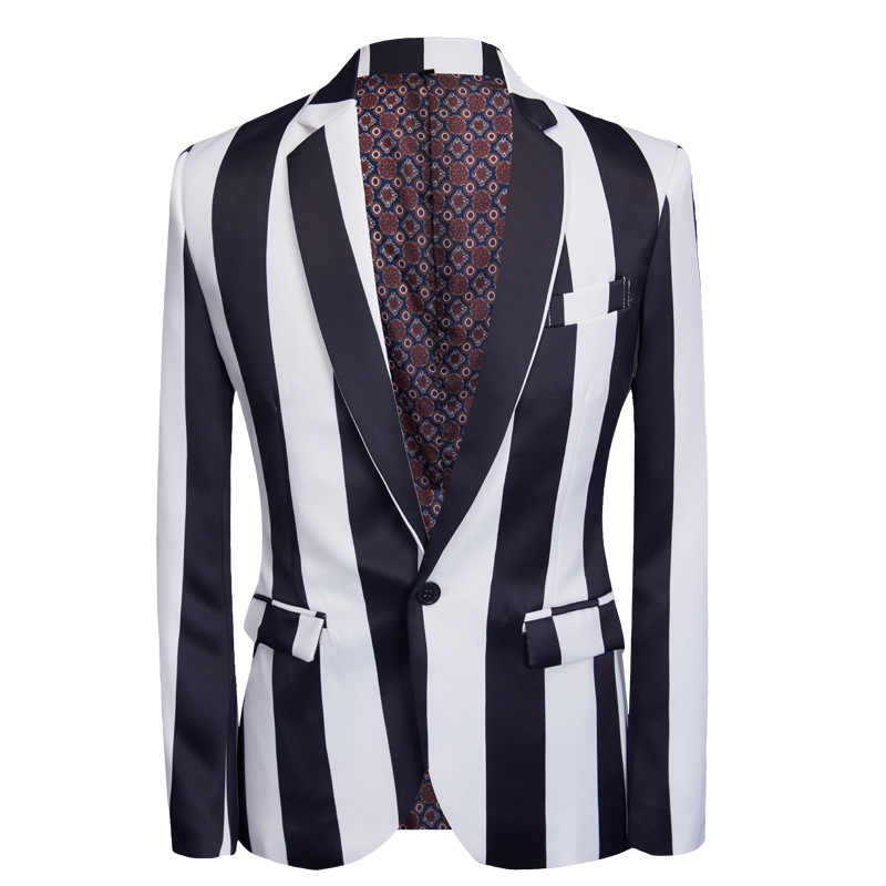 Aismz ファッションスーツ男性黒、白のストライププリント 2 枚セット最新コートパンツデザインのウェディングステージ歌手スリムフィット衣装