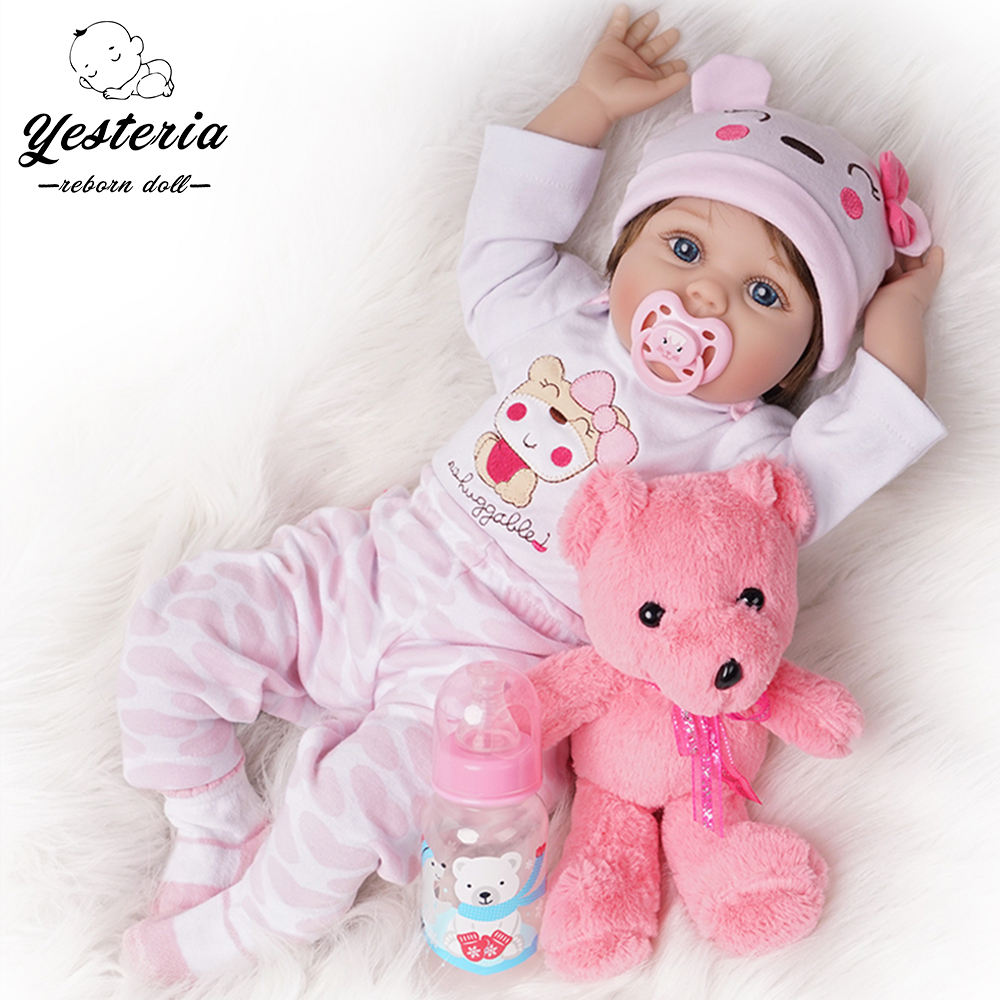 55cm Reborn Baby Doll Newborn Bebe Girl Silicone Vinyl Light Pink Outfit
