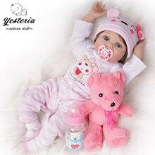 Кукла реборн силиконовая виниловая светло-розовая, 55 см