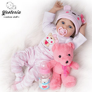 55cm Reborn Baby Doll Newborn Bebe Girl Silicone Vinyl Light Pink Outfit(China)