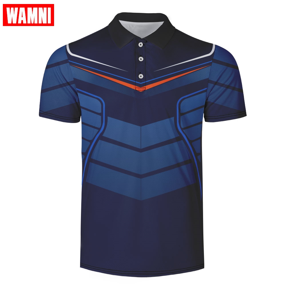 WAMNI 2019 Quick Drying 3D Polo T Shirt Man Sport Loose Streetwear Harajuku Casual Turn-down Collar Fashion Tennis Shirt