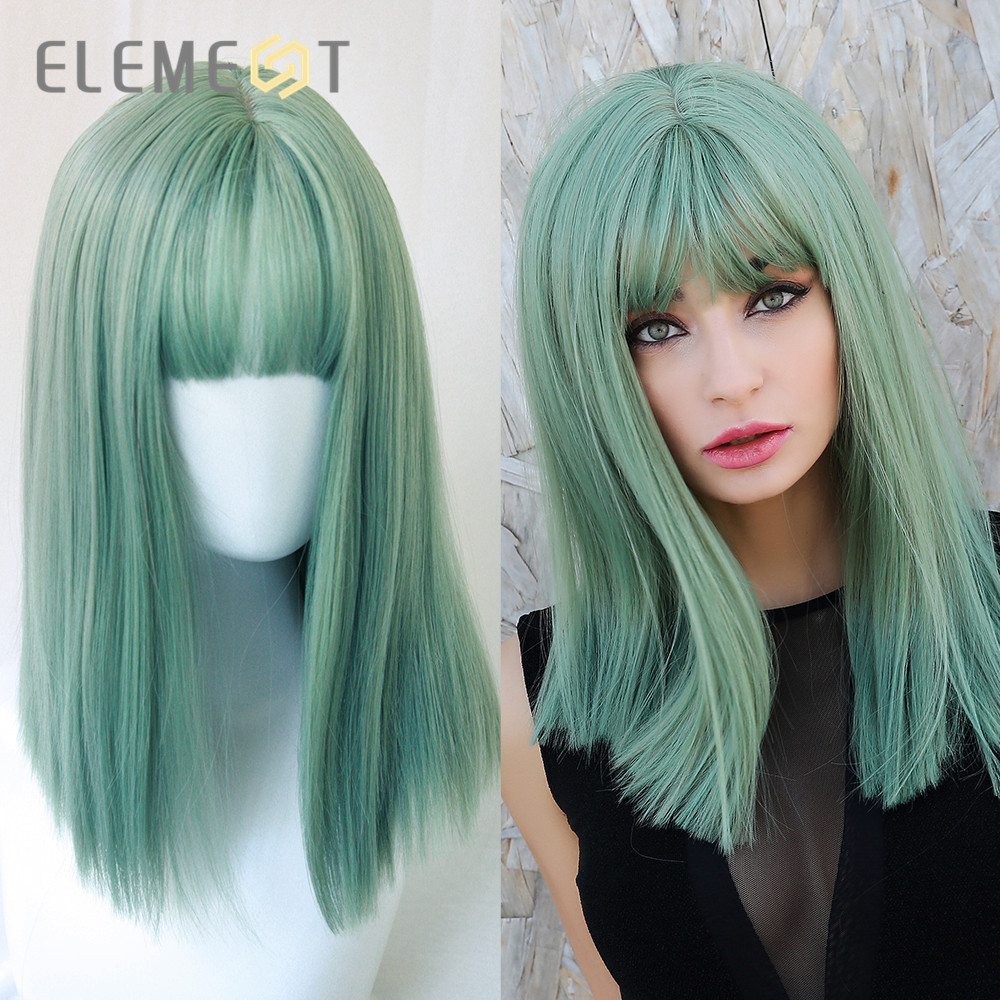 Element Synthetic Long Straight Bob Wigs Cyan-Blue Color Cosplay Wigs With Bangs For White/black Women Party Costume