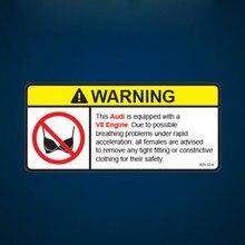 Naklejki ostrzegawcze V8 ostrzeżenie silnika nie biustonosz naklejka samoprzylepna naklejka PVC odblaskowe naklejki winylowe