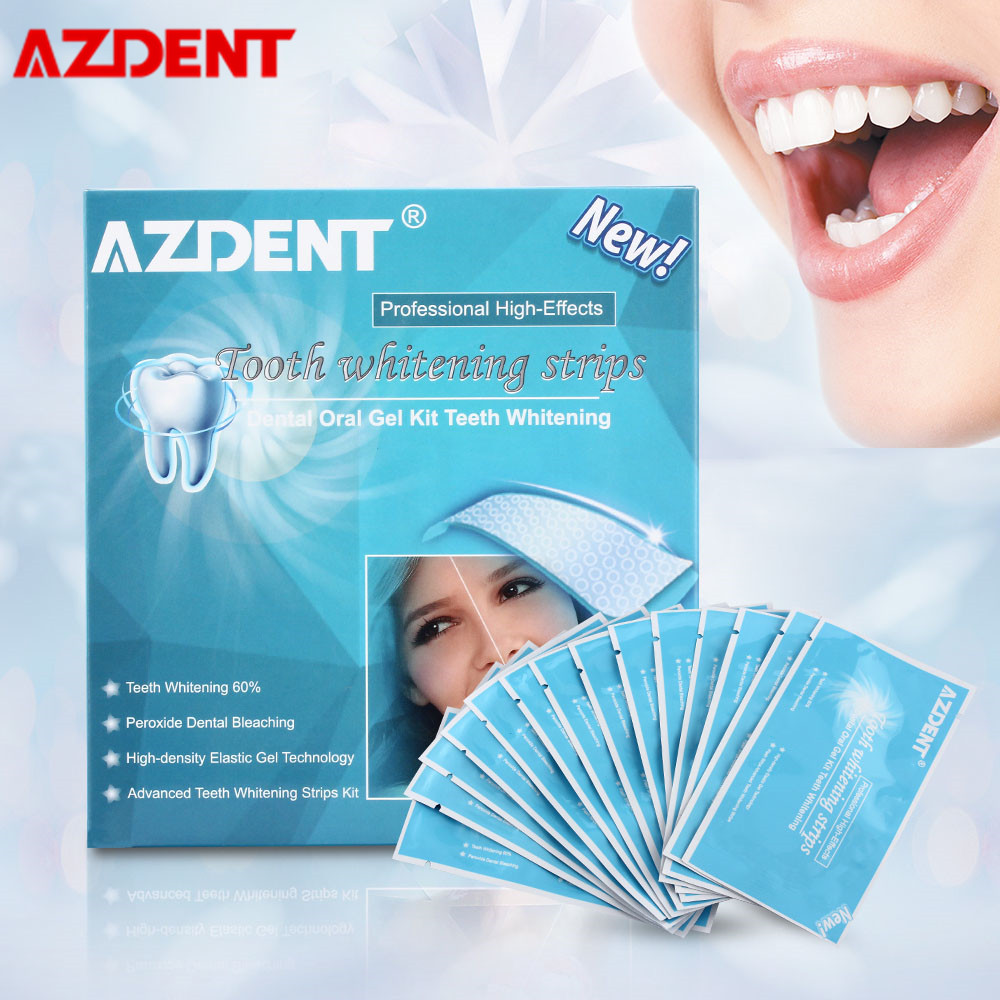 AZDENT Teeth Whitening Strips Oral Hygiene Teeth Bleaching Tools Essentials Dental Bleaching Strips 28Pcs/14 Pairs Whiter Strips
