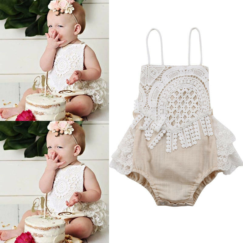 Newborn Baby Girl Clothing Lace Jumpsuit Outfits Clothes Set