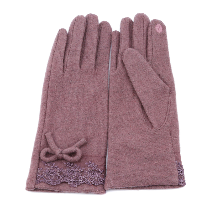 2019 Fashion Gloves Women Autumn And Winter Elegant Lace Patchwork Cashmere Gloves Cute Bow Wool Warm Purple Female Mittens